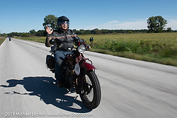 Motorcycle Cannonball coast to coast vintage run. Stage 5 (229 miles) from Bowling Green, OH to Bourbonnais, IL. Wednesday September 12, 2018. Photography ©2018 Michael Lichter.
