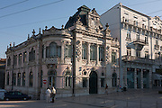 Morning light on the exterior of the ornate Banco de Portugal building on Largo da Portagem, on 17th July, at Coimbra, Portugal. The Banco de Portugal is the central bank of the Portuguese Republic. Established by a royal charter on 19 November 1846 to act as a commercial bank and issuing bank, it came about as the result of a merger of the Banco de Lisboa and the Companhia de Confianca Nacional. (Photo by Richard Baker / In Pictures via Getty Images)