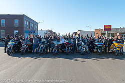 Group photo of riders during a stop in Groton, SD for a flag raising ceremony during the USS South Dakota submarine flag relay across South Dakota. USA. Sunday October 8, 2017. Photography ©2017 Michael Lichter.