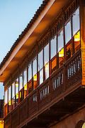A balcony above a shop on the Plaza de Armas, Cusco, Peru, South America