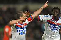 FOOTBALL - FRENCH CHAMPIONSHIP 2011/2012 - L1 - STADE RENNAIS v OLYMPIQUE LYONNAIS - 1/04/2012 - PHOTO PASCAL ALLEE / DPPI - JOY LIDANDRO LOPEZ AFTER HIS GOAL. HE IS CONGRATULATED BY BAFETIMBI GOMIS