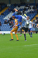Goalmouth action during the Pre-Season Friendly match between Bury and Preston North End at Gigg Lane, Bury, England on 1 August 2015. Photo by Mark Pollitt.