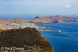 Viewed from Pico Facho, the cargo port of Caniçal in the North East of Madeira where the islands supplies arrive on ships. MADEIRA, September 25 2018. © Paul Davey