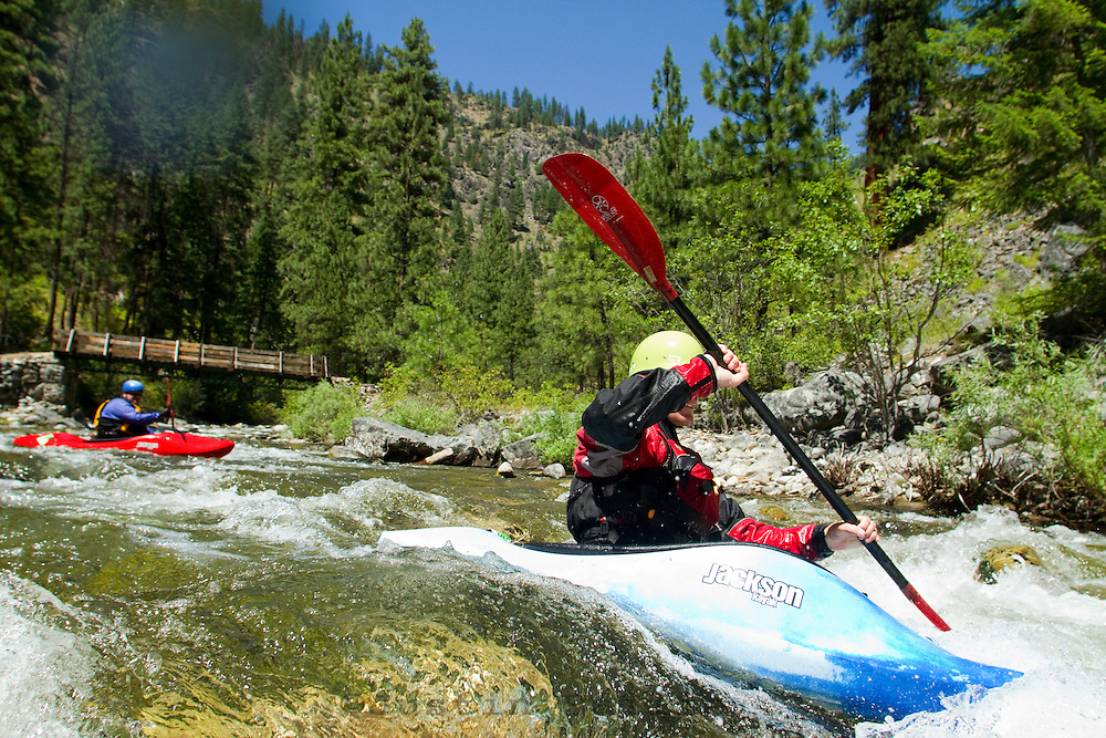 Kayaking on a tributary of the Main Salmon River in central Idaho.
