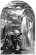 Shakespeare 'Hamlet' Act l Sc 5. Hamlet seeing his father's ghost on the battlements of Elsinore Castle. 19th century engraving.