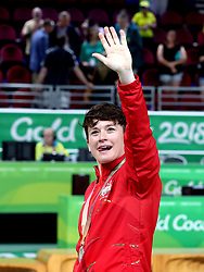 England's Stefanie Collins celebrates with her silver medal in the Women's Gold Medal Game at the Gold Coast Convention and Exhibition Centre during day ten of the 2018 Commonwealth Games in the Gold Coast, Australia.
