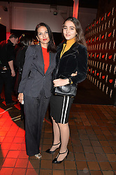 Left to right, YASMIN MILLS and her daughter at the YSL Beauty: YSL Loves Your Lips party held at The Boiler House,The Old Truman Brewery, Brick Lane,London on 20th January 2015.