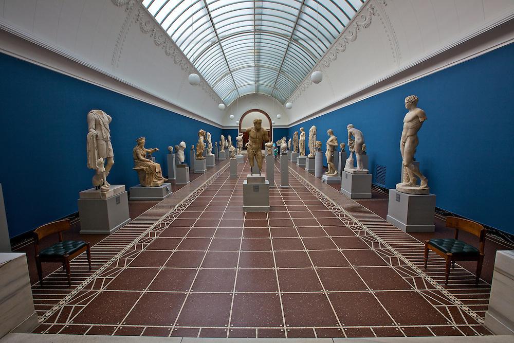 Roman ancestors on display in the blue room at the Ny Carlsberg Glyptotek museum in Copenhagen, Denmark