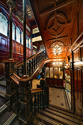 View or ornate staircase inside David Sloan's Arcade Cafe inside the Argyll Arcade in Glasgow City centre, Scotland, UK