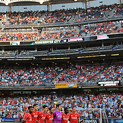 The Liverpool FC team pose for a team photograph at Yankee Stadium before the Manchester City Vs Liverpool FC Guinness International Champions Cup match at Yankee Stadium, The Bronx, New York, USA. 30th July 2014. Photo Tim Clayton
