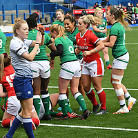 Rugby Union - 2021 Women's Six Nations - Group B - Round Two - Wales vs Ireland - Cardiff Arms Park<br /> <br /> referee Hollie Davidson signals for the 3rd official as Ireland celebrate prematurely <br /> <br /> COLORSPORT/WINSTON BYNORTH