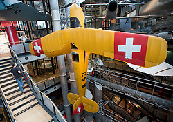 Historic aircraft on display at Deutsches Technikmuseum or German Technology Museum in Berlin Germany