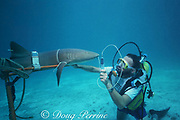 Dr. Samuel H. Gruber ( University of Miami ) uses dye filament to study respiratory flow and olfaction of nurse shark, Ginglymostoma cirratum, Bahamas (Atlantic)