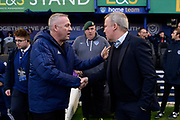 Ipswich Town manager Paul Lambert shakes hands with Portsmouth manager Kenny Jackett ahead of the EFL Sky Bet League 1 match between Portsmouth and Ipswich Town at Fratton Park, Portsmouth, England on 21 December 2019.