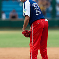 15 February 2009: Right Luis Miguel Rodriguez of the Orientales pitches during a training game of Cuba Baseball Team for the World Baseball Classic 2009. The national team is pitted against itself, divided in two teams called the Occidentales and the Orientales. The Orientales win 12-8, at the Latinoamericano stadium, in la Habana, Cuba.