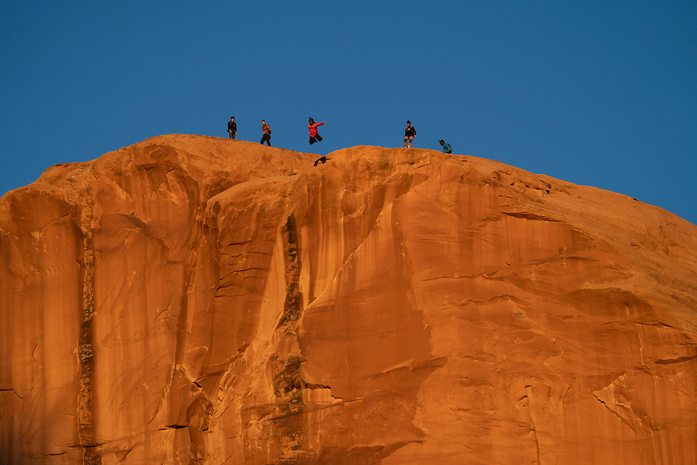 BASE Jumpers leap off Tombstone exit point in Moab, Utah,