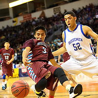 031214  Adron Gardner/Independent<br /> <br /> Shiprock Chieftain Rookie Hoskie (3) get's caught off balance by St. Michael's Horseman Isaiah Dominguez (52) during the state high school basketball tournament at the Santa Ana Star Center in Rio Rancho Tuesday.