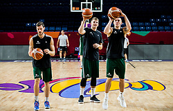 Goran Dragic of Slovenia, Luka Doncic of Slovenia and Matic Rebec of Slovenia at practice session of Team Slovenia 1 day before final match against Serbia at Day 17 of FIBA EuroBasket 2017 at Sinan Erdem Dome in Istanbul, Turkey on September 16, 2017. Photo by Vid Ponikvar / Sportida