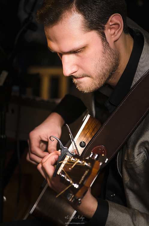 john Udinsky, guitarist, performing with The Live Devine Band during their Birthday Celebration at The Bus Stop Music Cafe in Pitman, NJ.