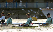 PUTNEY, LONDON, ENGLAND, 05.03.2006,  CUBC [right to left] No 4. Thorsten Englemann; No.5 Sebastian Schulte; No.6 Kieran West; Pre 2006 Boat Race Fixtures,.   © Peter Spurrier/Intersport-images.com..CUBC, Bow Luke Walton, No. 2 Tom Edwards, No.3 Sebastian Thormann, No 4. Thorsten Englemann, No.5 Sebastian Schulte, No.6 Kieran West, No.7 Tom James, stroke Kip McDaniel and cox Peter Rudge...OUBC, Bow Robin Esjmond-Frey, No.2 Colin Smith, No.3 Jake Wetzel, No.4 Paul Daniels, No.5 James Schroeder. No.6 Barney Williams, No. 7 Tom Parker, stroke Bastien Ripoll, and cox Nick Brodie,..[Mandatory Credit Peter Spurrier/ Intersport Images] Varsity Boat Race, Rowing Course: River Thames, Championship course, Putney to Mortlake 4.25 Miles