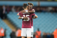Mile Jedinak of Aston Villa (15) hugs Tammy Abraham of Aston Villa (18) after the game during the EFL Sky Bet Championship match between Aston Villa and Rotherham United at Villa Park, Birmingham, England on 18 September 2018.