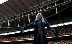 Ava Max on stage during Capital's Summertime Ball. The world's biggest stars perform live for 80,000 Capital listeners at Wembley Stadium at the UK's biggest summer party.