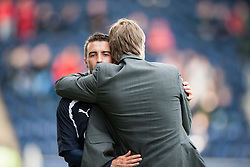 Falkirk's Mark Millar substituted near the end of the game, with Steven Pressley, Falkirk manager..Falkirk's Football Club's last game of season 2011-2012..Falkirk 3 v 2 Ayr United, 5/5/2012..©Michael Schofield..
