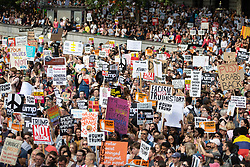 © Licensed to London News Pictures . 13/07/2018. London, UK. Thousands of demonstrators in Trafalgar Square at a rally in protest against US President Donald Trump's UK visit . Photo credit: Joel Goodman/LNP