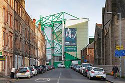 View of Easter Road Stadium home Hibernian Football Club in east end of Edinburgh, Scotland, UK
