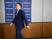 22 JANUARY 2020 - CHARLES CITY, IOWA: ANDREW YANG walks into a meet and greet after speaking at a campaign event in the public library in Charles City, IA. Yang, an entrepreneur, is running for the Democratic nomination for the US Presidency in 2020. He is in northern Iowa as a part of his 17 day bus tour across the state. Iowa hosts the the first election event of the presidential election cycle. The Iowa Caucuses will be on Feb. 3, 2020.         PHOTO BY JACK KURTZ