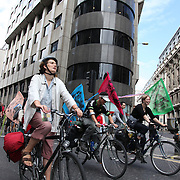 The swoop teams Brown and White cuts through the City on their way to swoop Climate Camp 2009.