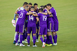August 4, 2018 - Orlando, FL, U.S. - ORLANDO, FL - AUGUST 04: Orlando players huddle during the soccer match between the Orlando City Lions and the New England Revolution on August 4, 2018 at Orlando City Stadium in Orlando FL. (Photo by Joe Petro/Icon Sportswire) (Credit Image: © Joe Petro/Icon SMI via ZUMA Press)