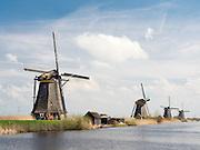 Row of Kinderdijk Windmills, The Netherlands.