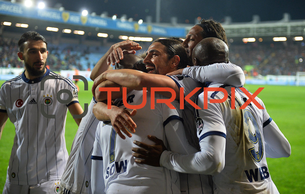 Fenerbahce's Mehmet Topuz (C) celebrate his goal with team mate during their Turkish Super League soccer match Caykur Rizespor between Fenerbahce at the Yeni Rize Sehir stadium in Rize Turkey on Saturday, 04 April 2015. Photo by TVPN/TURKPIX