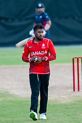 September 22, 2018 - Morrisville, North Carolina, US - Sept. 22, 2018 - Morrisville N.C., USA - Team Canada NIKHIL DUTTA (13) ensures the defense is set during the ICC World T20 America's ''A'' Qualifier cricket match between USA and Canada. Both teams played to a 140/8 tie with Canada winning the Super Over for the overall win. In addition to USA and Canada, the ICC World T20 America's ''A'' Qualifier also features Belize and Panama in the six-day tournament that ends Sept. 26. (Credit Image: © Timothy L. Hale/ZUMA Wire)