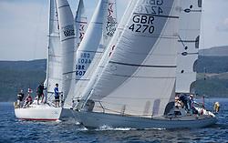 Silvers Marine Scottish Series 2017<br /> Tarbert Loch Fyne - Sailing<br /> <br /> Sigma 33 start with GBR4270, Sigmatic, Donald & Anita Mclaren, Helensburgh SC<br /> <br /> Credit Marc Turner / PFM