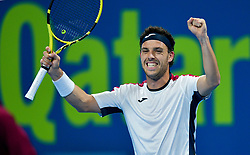 Marco Cecchinato of Italy celebrates his win over Dusan Lajovic of Serbia during theirQuarter - Final of ATP Qatar Open Tennis match at the Khalifa International Tennis Complex in Doha, capital of Qatar, on January 03, 2019. Marco Cecchinato won 2-0  (Credit Image: © Nikku/Xinhua via ZUMA Wire)