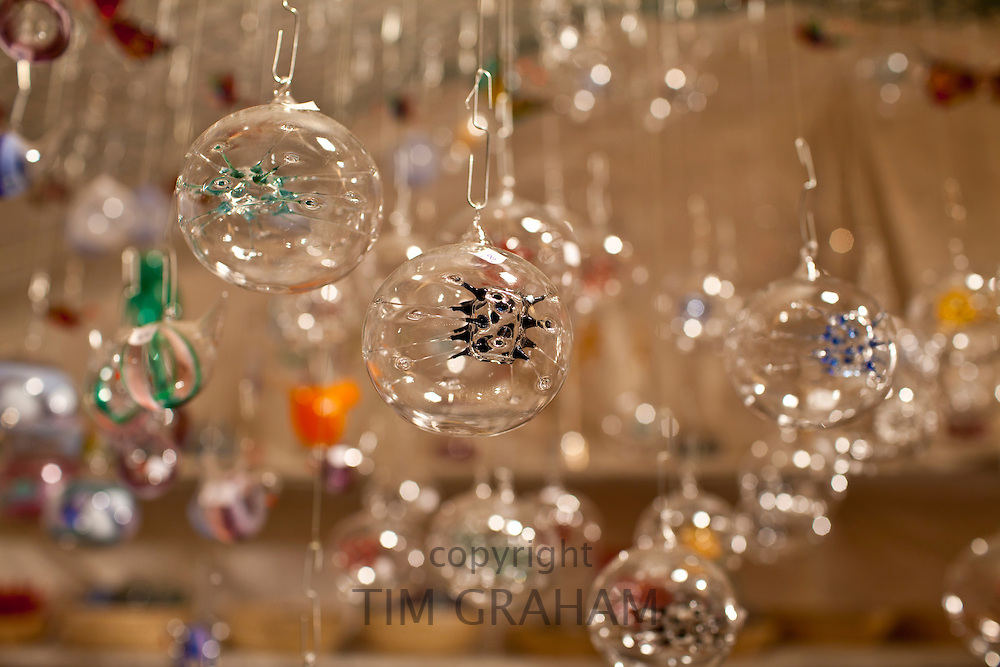 Christmas tree decorated glass baubles at Christmas market, Winter Wonderland, in Hyde Park, London