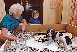 First lady Barbara Bush and granddaughter Marshall Lloyd Bush, two and a half years old, daughter of Marvin Bush and his wife, Margaret, visit Mrs. Bush's dog Millie at the White House in Washington, DC, USA, on Saturday, March 18, 1989.  Millie gave birth to six puppies Friday evening. Photo by David Valdez / White House via CNP/ABACAPRESS.COM  | 633025_002 Washington Etats-Unis United States