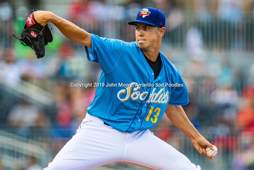 Amarillo Sod Poodles pitcher MacKenzie Gore (13) pitches against the Northwest Arkansas Travelers on Friday, July 19, 2019, at HODGETOWN in Amarillo, Texas. [Photo by John Moore/Amarillo Sod Poodles]