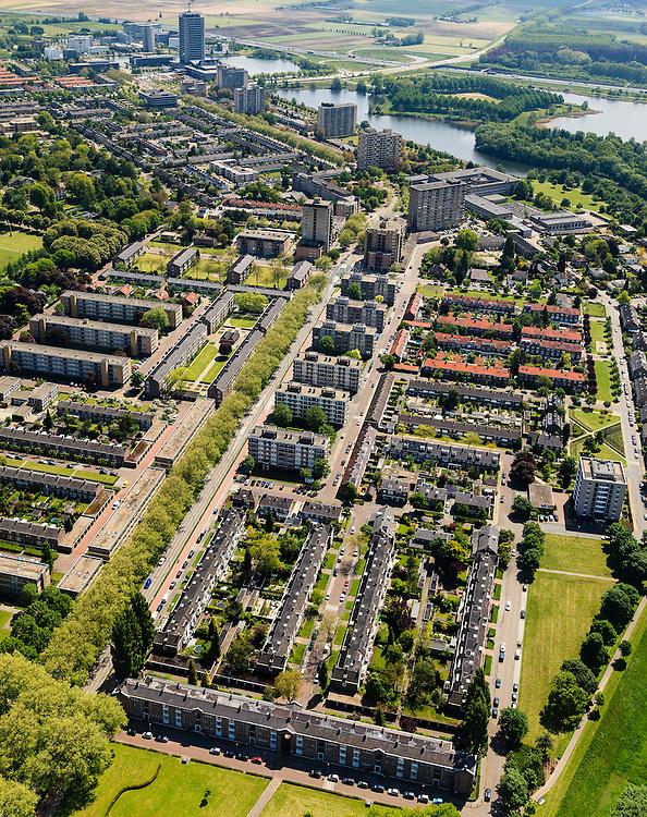 Nederland, Noord-Brabant, Den Bosch, 27-05-2013; Plan Zuid / De Pettelaar. Midden (li) Pettelaarseweg, gezien naar Provinciehuis en Zuiderplas.<br /> Stadsuitbreiding en nieuwbouwwijk uit de jaren vijftig en zestig van de vorige eeuw, wederopbouwperiode. Groen en ruim opgezet.<br /> New residential area built in the fifties and sixties in Den Bosch. Spacious and plentyful green areas.<br /> Reconstruction area.<br /> luchtfoto (toeslag op standard tarieven)<br /> aerial photo (additional fee required)<br /> copyright foto/photo Siebe Swart