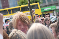 Domhnall Gleeson talks to fans at the Dublin Premiere of Harry Potter and the Deathly Hallows: Part 2 at the Savoy Cinema Dublin Ireland