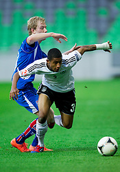 Dadi Bergsson of Iceland vs Jeremy Dudziak of Germany during the UEFA European Under-17 Championship Group A match between Iceland and Germany on May 7, 2012 in SRC Stozice, Ljubljana, Slovenia. Germany defeated Iceland 1-0. (Photo by Vid Ponikvar / Sportida.com)