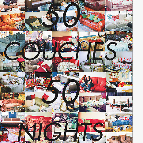 """""""50 Couches in 50 Nights"""" : The Book (paperback)<br /> <br /> The paperback 5x7 softcover pocket book printed on 70# white uncoated paper<br /> <br /> 96 pages<br /> <br /> In June and July of 2010, Dean MacKay, slept on 50 different couches in 50 consecutive nights and took photos of the couches, his hosts, and their homes. It was an act, initially born out of necessity. He needed a place to sleep when he could no longer afford his own. What it became, was a unique, transformational journey that continues to this day. This book is the first in a series of photography books, documenting that experience.<br /> <br /> *please allow 3 - 4 weeks for printing, processing and shipping <br /> <br /> *due to high shipping costs, we're currently only shipping to addresses within the U.S."""