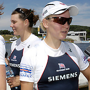 Poznan, POLAND,   GBR W8+  left Carla ASHFORD, Natasha HOWARD and Katie GREVES, at the 2008 FISA World Cup. Rowing Regatta. Malta Rowing Course on Sunday, 22/06/2008. [Mandatory Credit:  Peter SPURRIER / Intersport Images] Rowing Course:Malta Rowing Course, Poznan, POLAND
