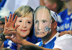 06.09.2014, Spodek, Katowice, POL, FIVT WM, Finnland vs Deutschland, Gruppe B, im Bild ANGELA MERKEL WLADIMIR PUTIN VLADIMIR // during the FIVB Volleyball Men's World Championships Pool B Match beween Finland and Germany at the Spodek in Katowice, Poland on 2014/09/06.<br />