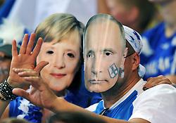 06.09.2014, Spodek, Katowice, POL, FIVT WM, Finnland vs Deutschland, Gruppe B, im Bild ANGELA MERKEL WLADIMIR PUTIN VLADIMIR // during the FIVB Volleyball Men's World Championships Pool B Match beween Finland and Germany at the Spodek in Katowice, Poland on 2014/09/06.<br /> <br /> ***NETHERLANDS ONLY****
