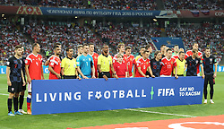 SOCHI, July 7, 2018  Players of Russia and Croatia pose for a group photo prior to the 2018 FIFA World Cup quarter-final match between Russia and Croatia in Sochi, Russia, July 7, 2018. (Credit Image: © Yang Lei/Xinhua via ZUMA Wire)