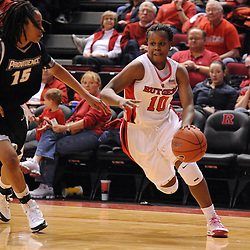 Feb 21, 2009; Piscataway, NJ, USA; Rutgers guard Epiphanny Prince (10) drives to the net against Providence guard/forward Mi-Khida Hankins (15)  during the second half of Rutgers' 55-42 victory over Providence at the Louis Brown Athletic Center.