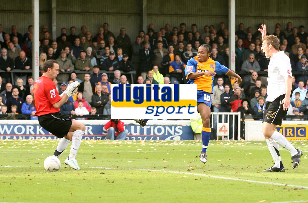 Shrewsbury town v Hereford,Fa cup first round.<br />11-11-2006.Shrewsburys Derek Asamoah allmost beats the Hereford keeper Wayne Brown as Phil Gulliver looks on.